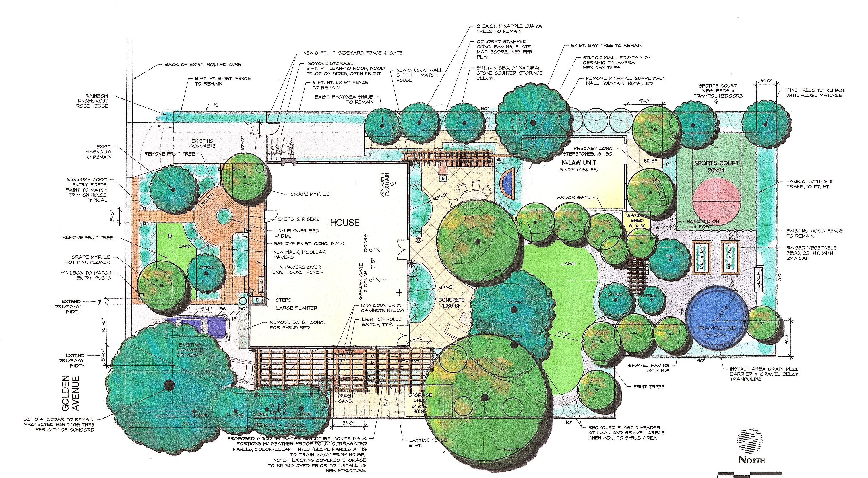 30 innovative landscape design drawing examples for Landscape design examples